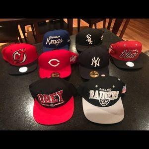 Assorted MLB, NHL & NFL Hats